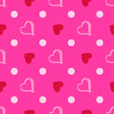 Vector seamless pattern with watercolor heart. Royalty Free Stock Photos