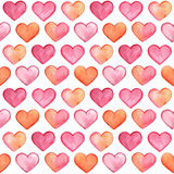 Vector Seamless Pattern with Watercolor Hearts Stock Photos