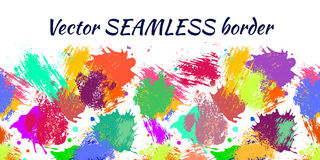 Vector seamless pattern with watercolor ink blots, splash and brush strokes. Stock Photography