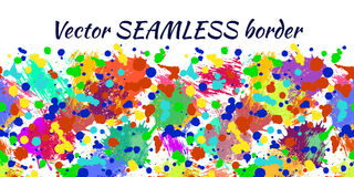 Vector seamless pattern with watercolor ink blots, splash and brush strokes. Horizontal banner, seamless border Stock Images