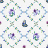 Vector seamless pattern. Watercolor iris, leaves, butterfly. Royalty Free Stock Photography