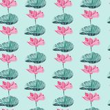 Vector seamless pattern with Watercolor lotus flower. Royalty Free Stock Photo