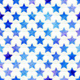 Vector seamless pattern with watercolor stars. Stock Image