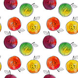 Vector Seamless pattern of watercolor yellow, green, red, orange apple with black hand-drawn elements. On white. Background. Grouped and isolated. Modern design Royalty Free Stock Image