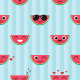 Vector seamless pattern with watermelon emoji Stock Photography