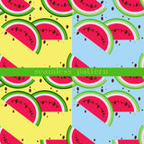Vector seamless pattern with watermelon slices. Slice of watermelon. Set of two seamless patterns Royalty Free Stock Photography