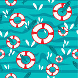 Vector seamless  pattern with waves and fish in flat style Royalty Free Stock Images