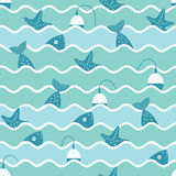 Vector seamless pattern of waves and fish. Vector seamless pattern of waves and illustration of fish and float and starfish. Fishing trip Royalty Free Stock Photography