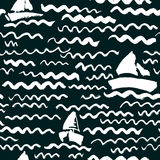Vector seamless pattern with waves and ship. Stock Photography
