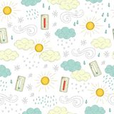 Vector seamless pattern of weather elements royalty free illustration