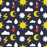 Vector seamless pattern of weather icons in trendy flat style. Endless meteorology background. Stock Photography