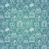 Vector seamless pattern with wedding icons. Blue  background Royalty Free Stock Photos