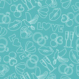 Vector seamless pattern of wedding and love symbols Stock Images
