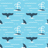 Vector seamless pattern with whale fins over the water. Whale produces a stream of water while swimming Stock Photos
