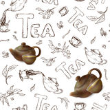 Vector seamless pattern on a white background sketch of items for the tea party. 3d teapot and cup Stock Images