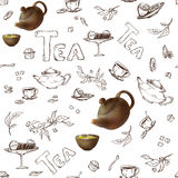 Vector seamless pattern on a white background sketch of items for the tea party. 3d teapot and cups, candy, lemon Royalty Free Stock Photo