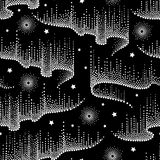 Vector seamless pattern with white dotted swirls of northern or polar light on the black background with stars. Aurora borealis. Stock Photography