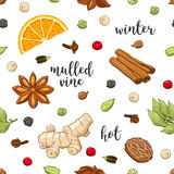 Vector seamless pattern on white with mulled wine Stock Photo