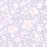Vector seamless pattern with white and pink flowers on purple. Stock Images