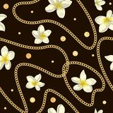 Vector seamless pattern of white plumeria flowers with golden foil confetti and chain stock illustration