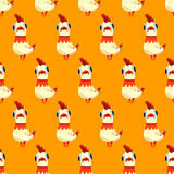 Vector seamless pattern with white  rooster on a yellow background. Vector seamless pattern with white cute rooster on a yellow background. New year card with Royalty Free Stock Photo