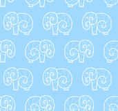 Vector seamless pattern of white simple elephant Royalty Free Stock Photo