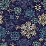Vector Seamless Pattern with white snowflakes Royalty Free Stock Images