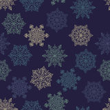 Vector Seamless Pattern with white snowflakes Royalty Free Stock Image