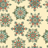 Vector Seamless Pattern with white snowflakes Stock Images