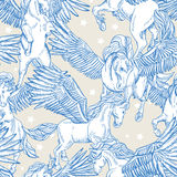 Vector seamless pattern of white winged pegasus Stock Images
