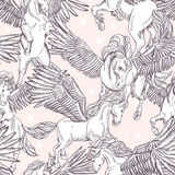 Vector seamless pattern of white winged pegasus Royalty Free Stock Image