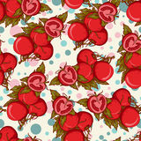 Vector seamless pattern with whole and half tomatoes Stock Photo