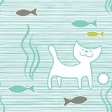 Vector seamless pattern wiht hand drawn cats and fish on horisontal striped background stock illustration