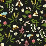 Vector seamless pattern of wild flowers, bees and bumblebees vector illustration