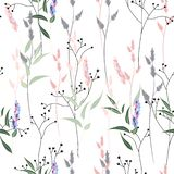 Vector seamless pattern with wild flowers, herbs and grasses. Thin delicate lines silhouettes of different plants. Soft pastel colors on white background vector illustration
