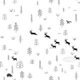 Vector seamless pattern with wild forest life Stock Images