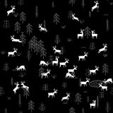 Vector seamless pattern with wild forest life and deers at night Stock Images