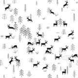 Vector seamless pattern with wild forest life and deers Stock Photography