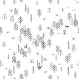 Vector seamless pattern with wild forest life with wolf hunting Stock Photography