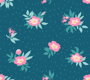 Vector seamless pattern with  wild roses  on the dark blue background, vintage style. Royalty Free Stock Photography