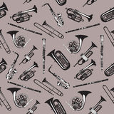 Vector seamless pattern with wind musical instruments. Royalty Free Stock Photos