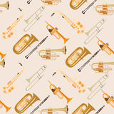 Vector seamless pattern with wind musical instruments. Royalty Free Stock Image