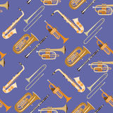 Vector seamless pattern with wind musical instruments. Stock Photo