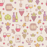 Vector seamless pattern with wine bottle, glass, grape vine, lea Royalty Free Stock Images