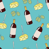 Vector seamless pattern with wine bottles, cheese and grapes Stock Image