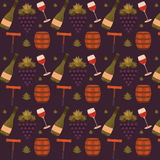 Vector seamless pattern with wine Royalty Free Stock Photo
