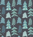 Vector seamless pattern with winter fir forest royalty free stock photo