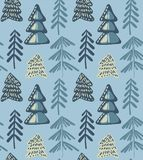 Vector seamless pattern with winter fir forest stock illustration