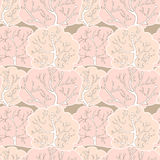 Vector seamless pattern with winter forest Stock Photos