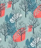 Vector seamless pattern with winter forest royalty free stock images